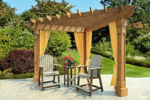 10 Wood Pergola with Alcove top and Grandfather posts with curtains