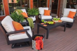 classic terrace swivel rockers black frames sailcloth shell cushions lifestyle