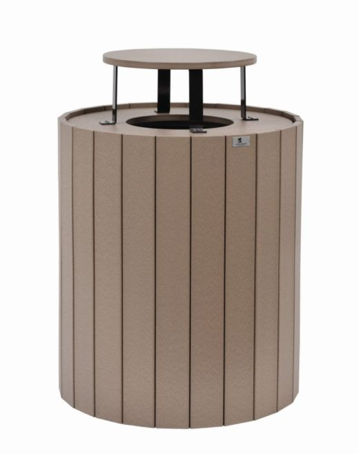 Round Trash Can with Rain Guard