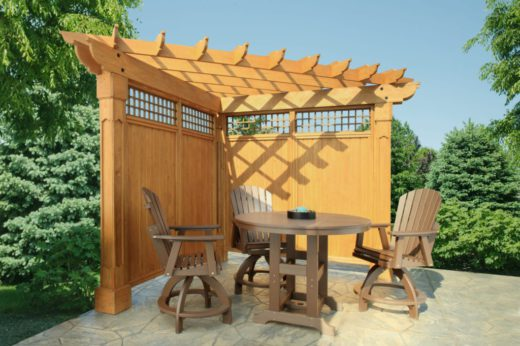 10 Wood Pergola with Alcove top and Grandfather posts with privacy walls
